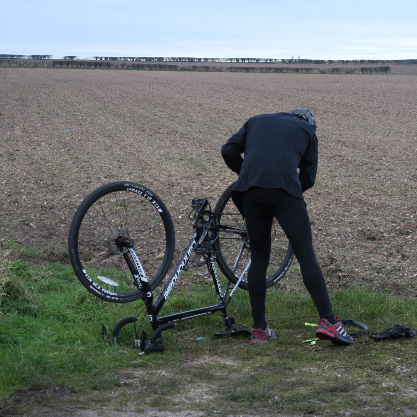 Free stock photo of bicycle, cyclist, fields, puncture
