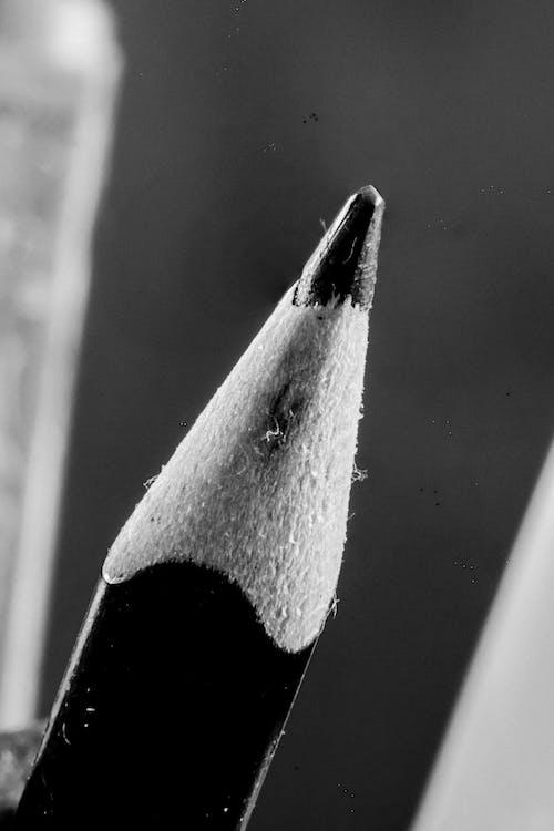 Free stock photo of b amp w, macro, pencil