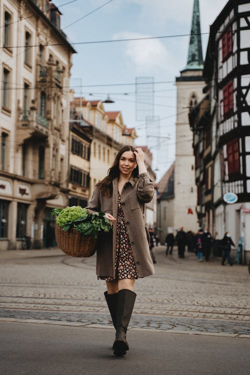 Woman in Brown Coat Carrying Basket