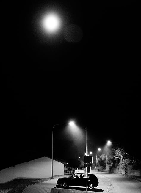 New free stock photo of black-and-white, street, moon