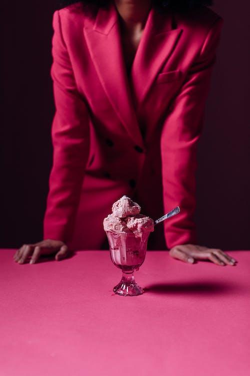 Strawberry Flavor Ice Cream in a Glass