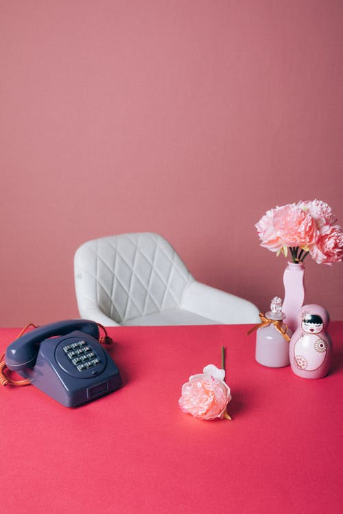 An Old Telephone and Pink Rose on Pink Table