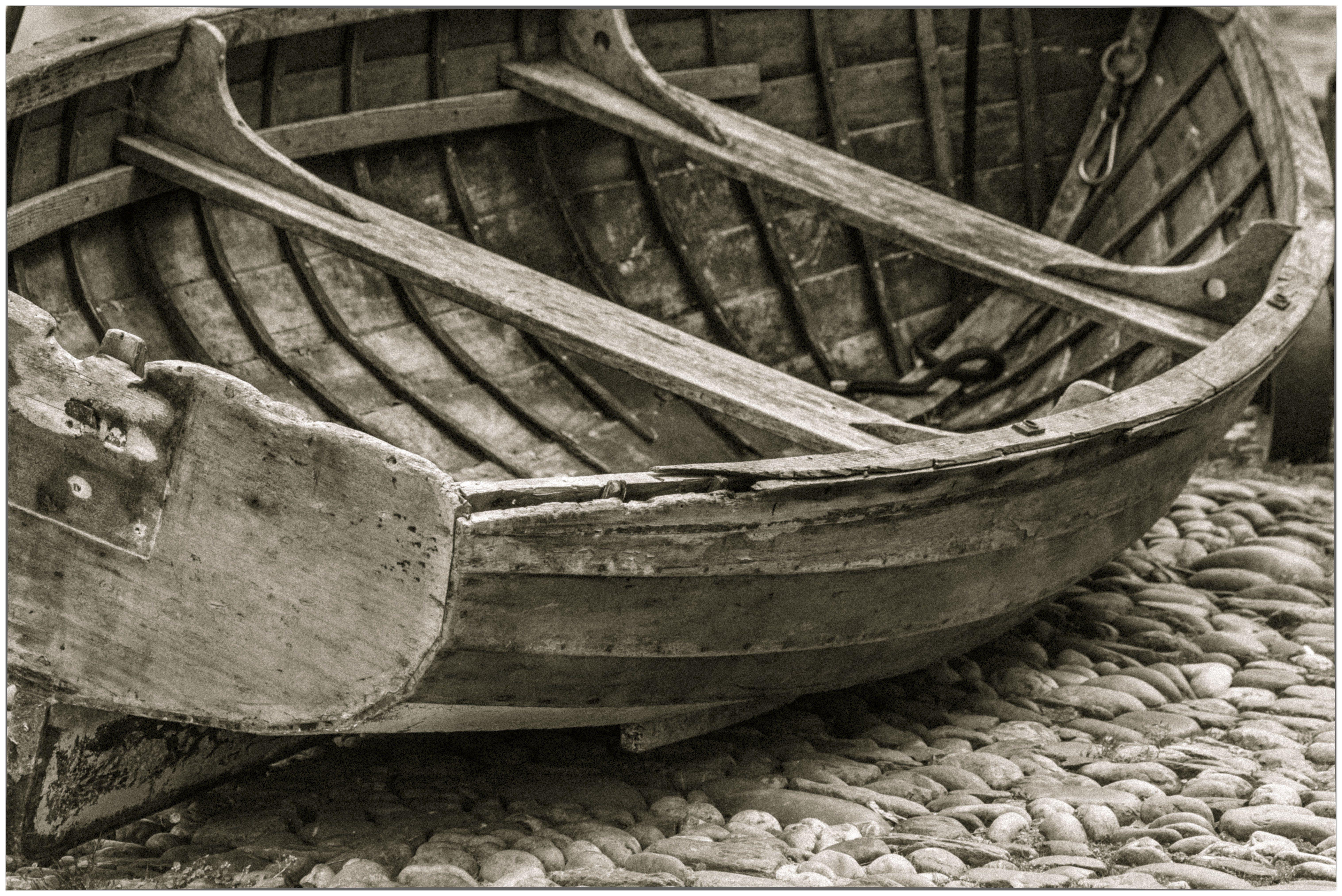 Free stock photo of boat, marooned, moody, pebbles