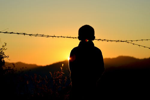 Silhouette of Boy Standing Near Barbed Wire Fence during Golden Hour