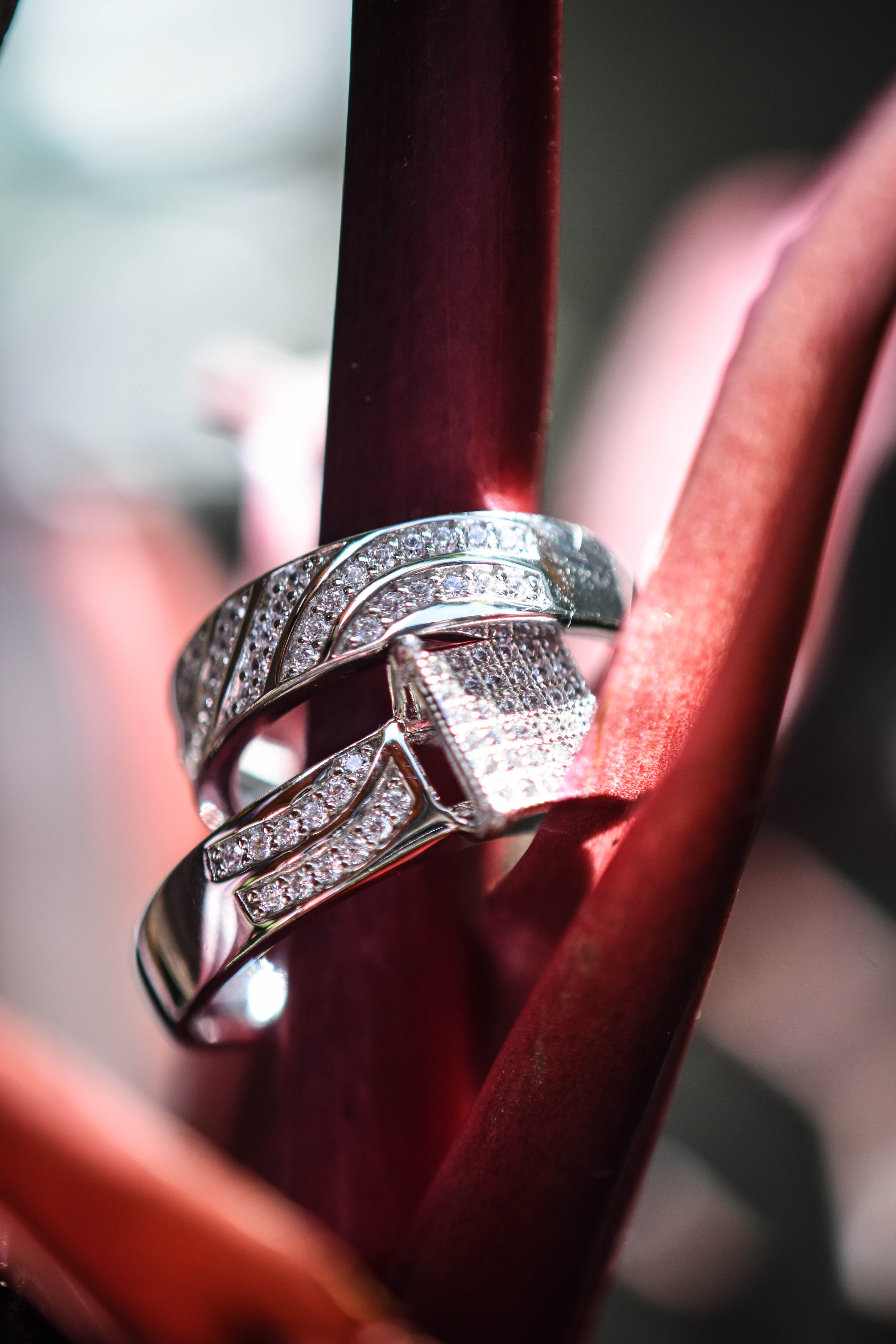 Macro Photography Of Two Diamond Rings Free Stock Photo
