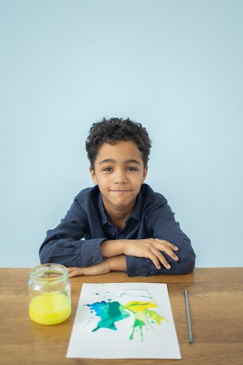 アート, アクワレル, アフリカ系アメリカ人の少年の無料の写真素材