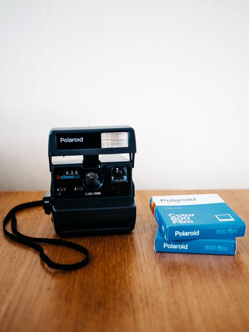 Black and Blue Polaroid Camera