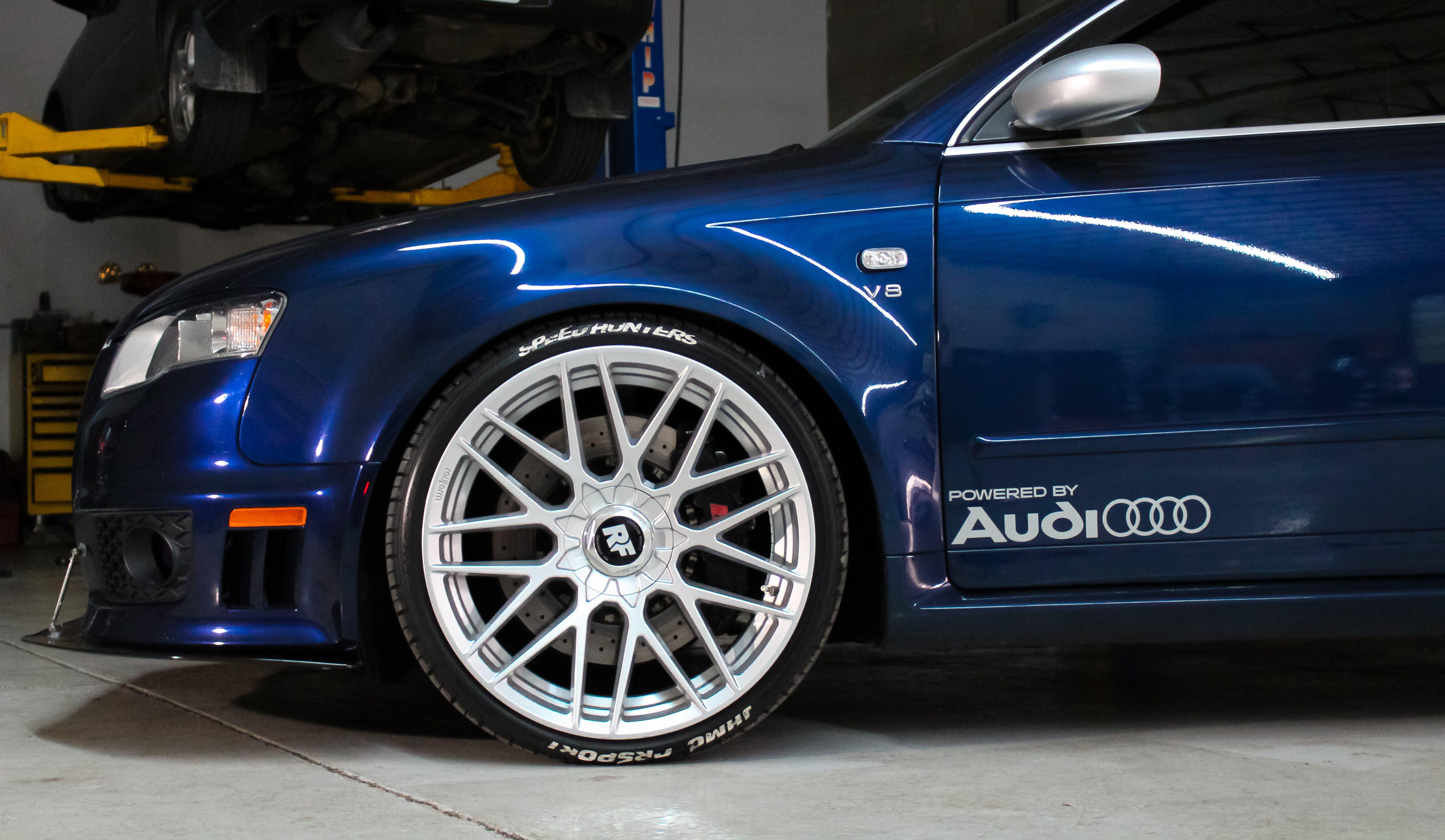 Free stock photo of audi car automotive wheel tire brake v8 repair
