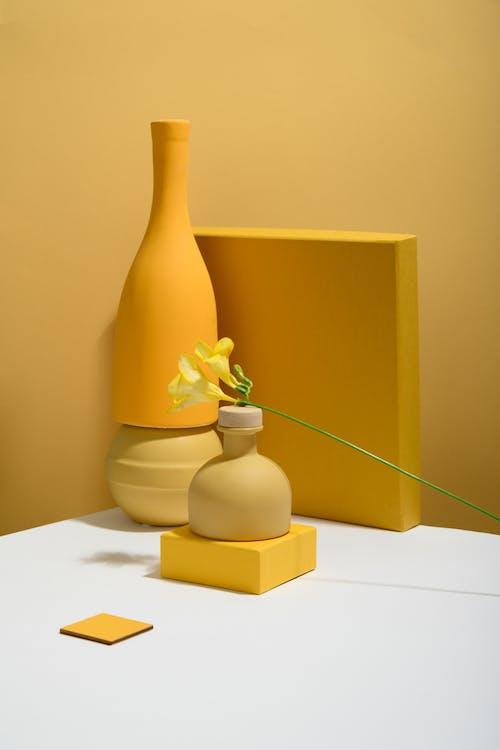 Gelbe Blume In Der Weißen Keramikvase Auf Weißem Tisch