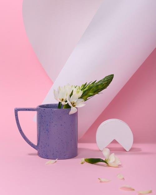 Photo of White Flower on Purple Ceramic Mug