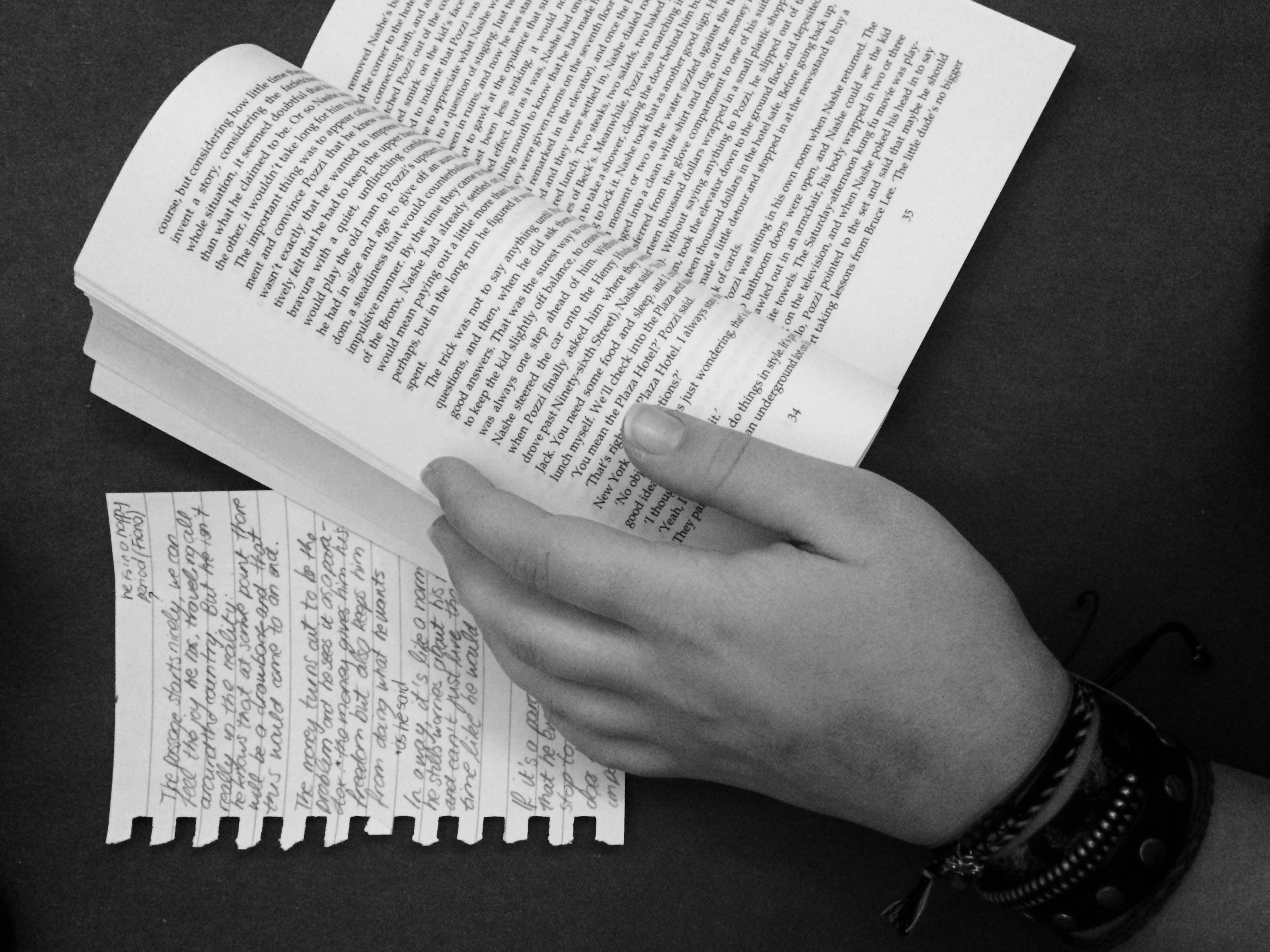 Free stock photo of hand, night, book, reading