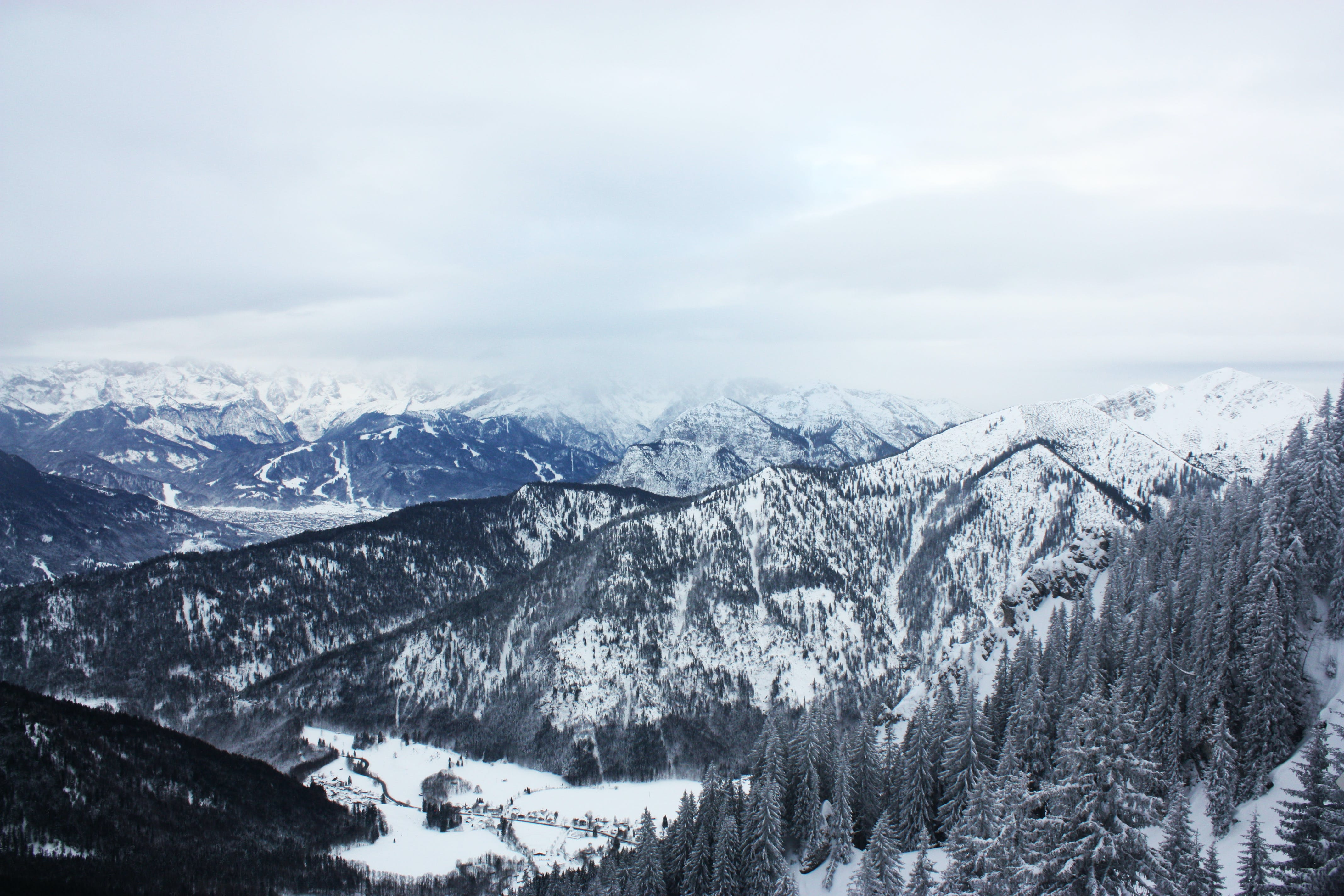 Scenic View of Mountains Covered with Snow