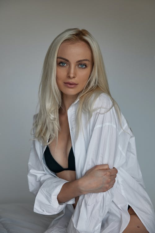 Woman in a Dress Shirt and Brassiere