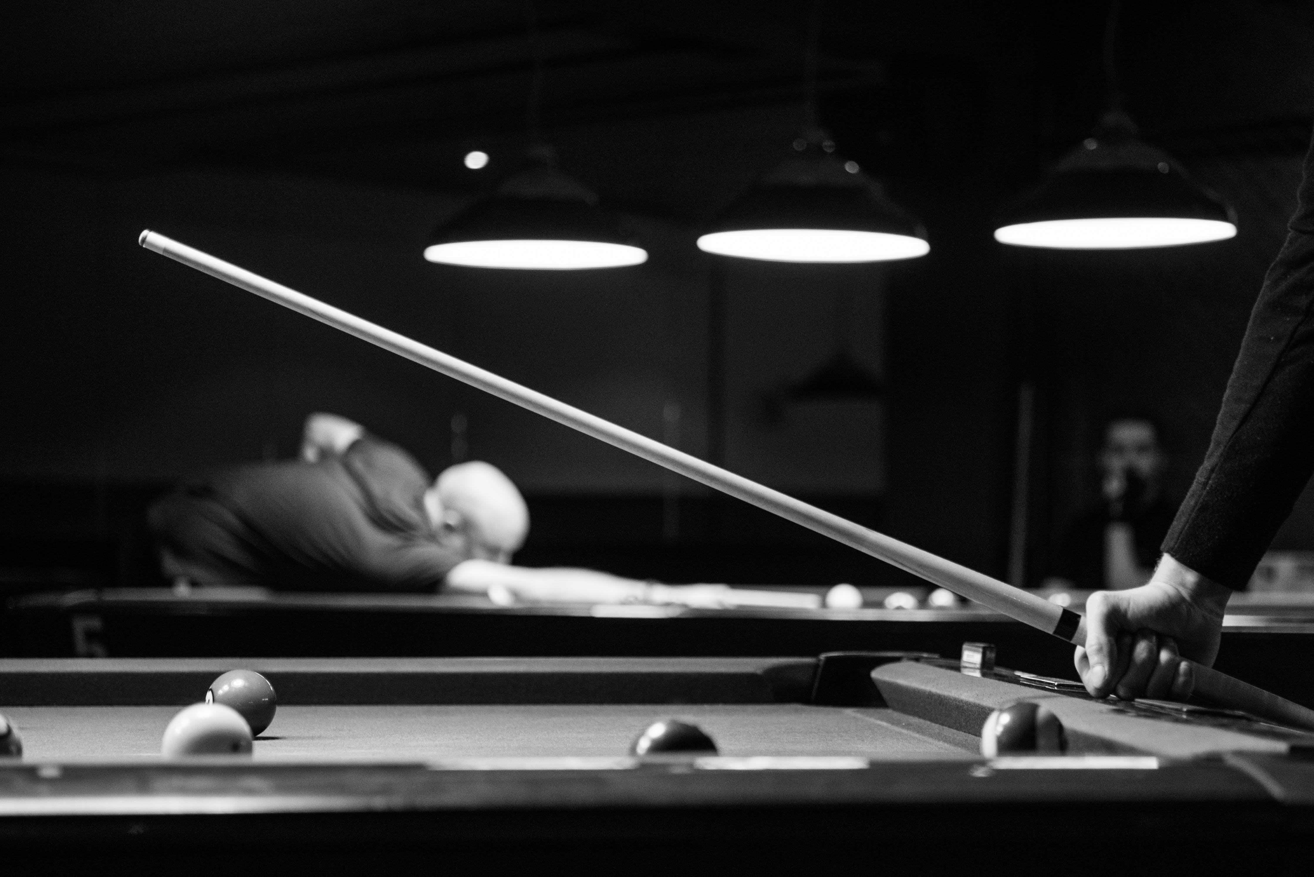 billiards black and white. Grayscale Photo Of Man Holding Cue-stick Billiards Black And White 2