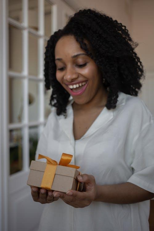 A Woman Receiving a Present