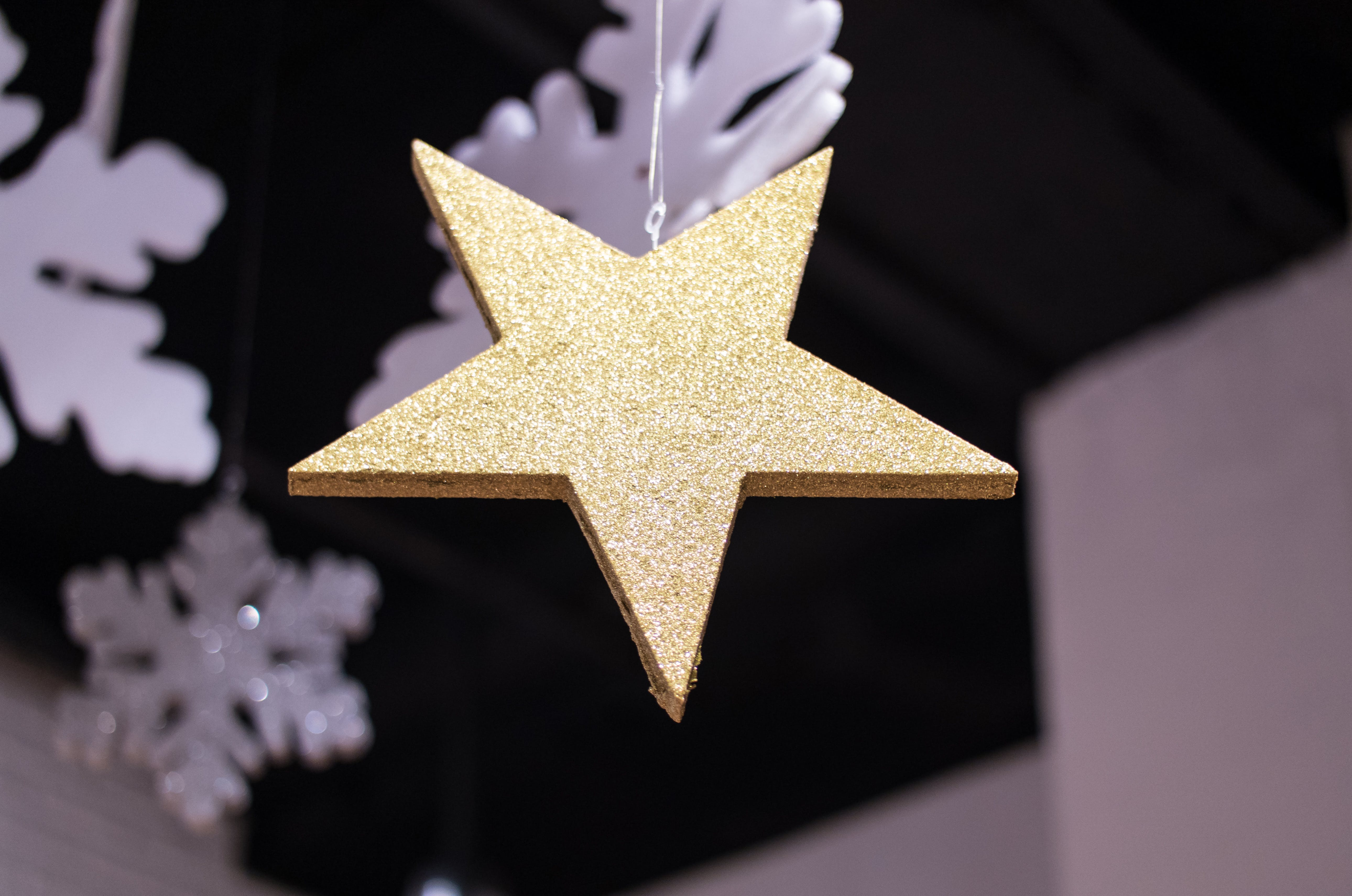 Close-up Photography of Star Covered with Glitters