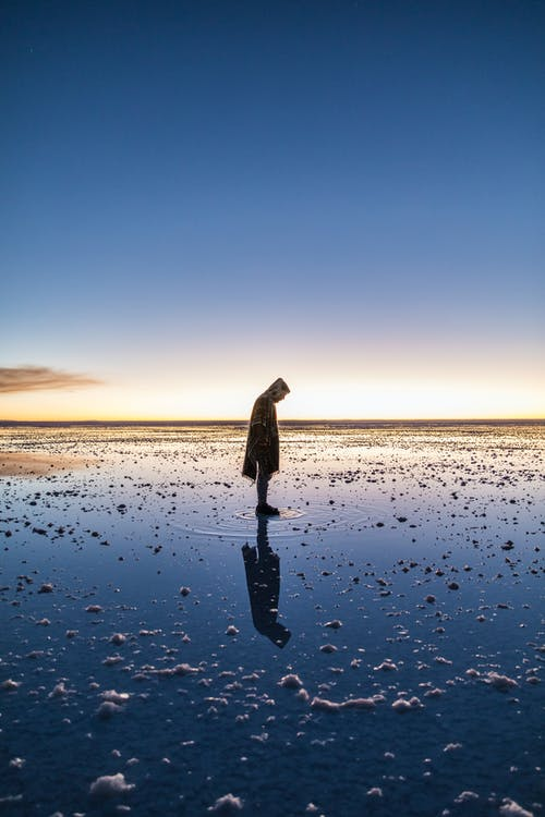 Woman in Black and White Coat Standing on Seashore