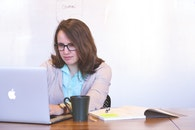 woman, apple, desk
