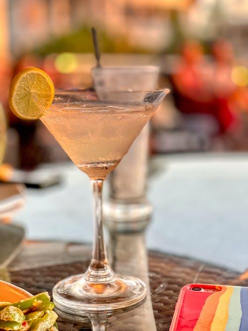 Martini Drink with Sliced Lemon