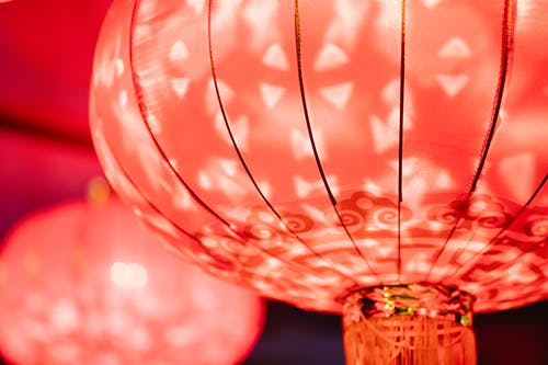 Glowing red Chinese lantern for traditional event