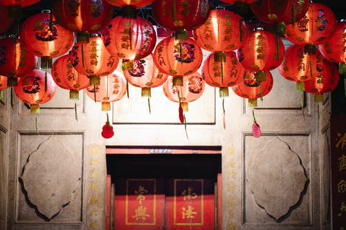 Traditional Chinese lanterns hanging in local historic
