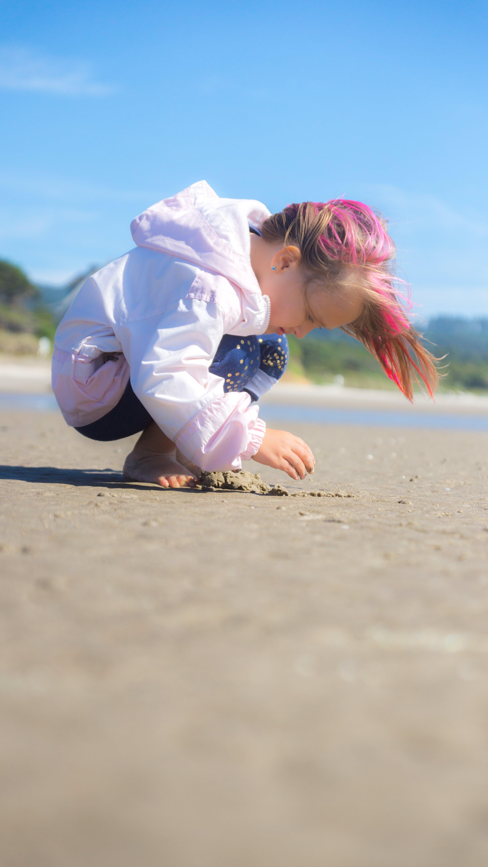 Free stock photo of beach, Beachcombing, pink hair, sand