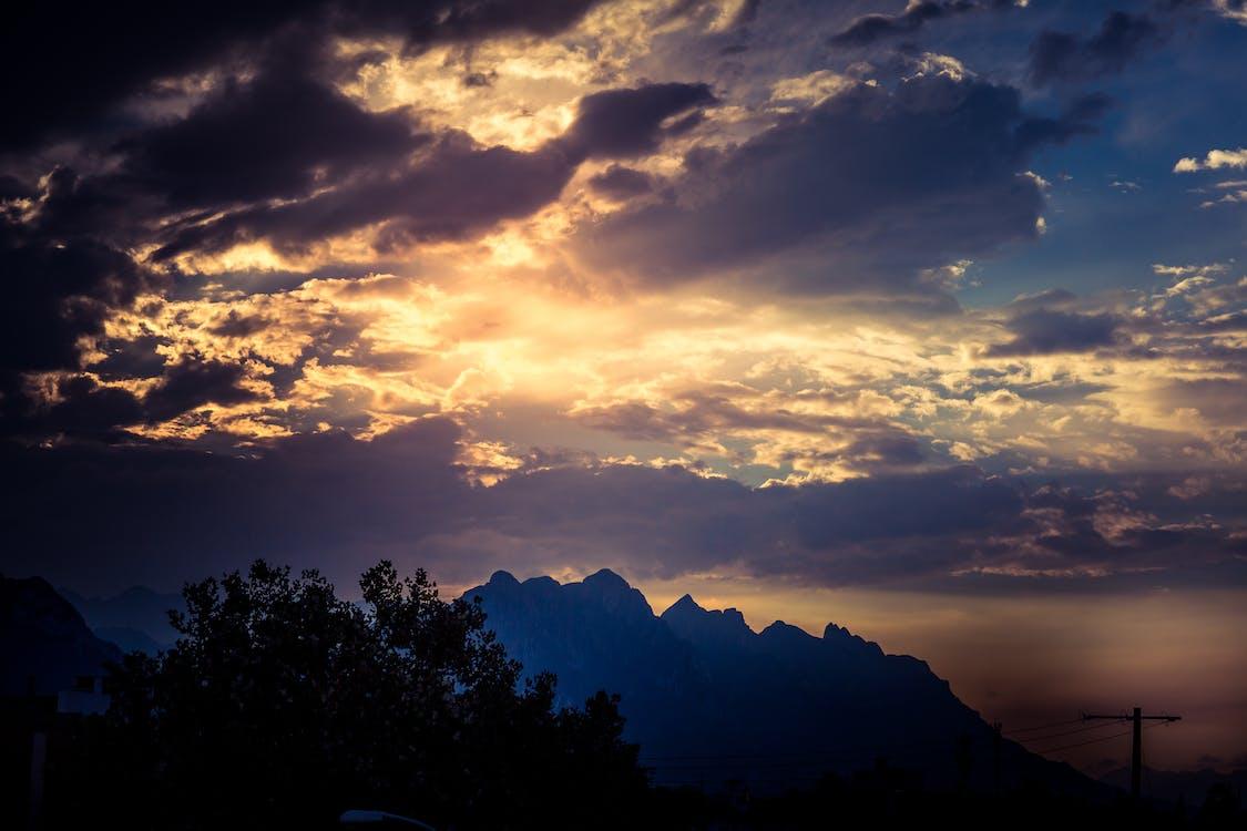 hora, mraky, obloha