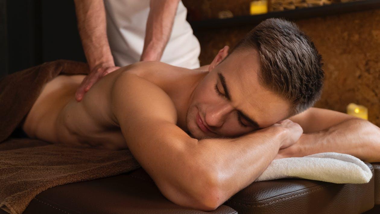A Man Having a Back Massage