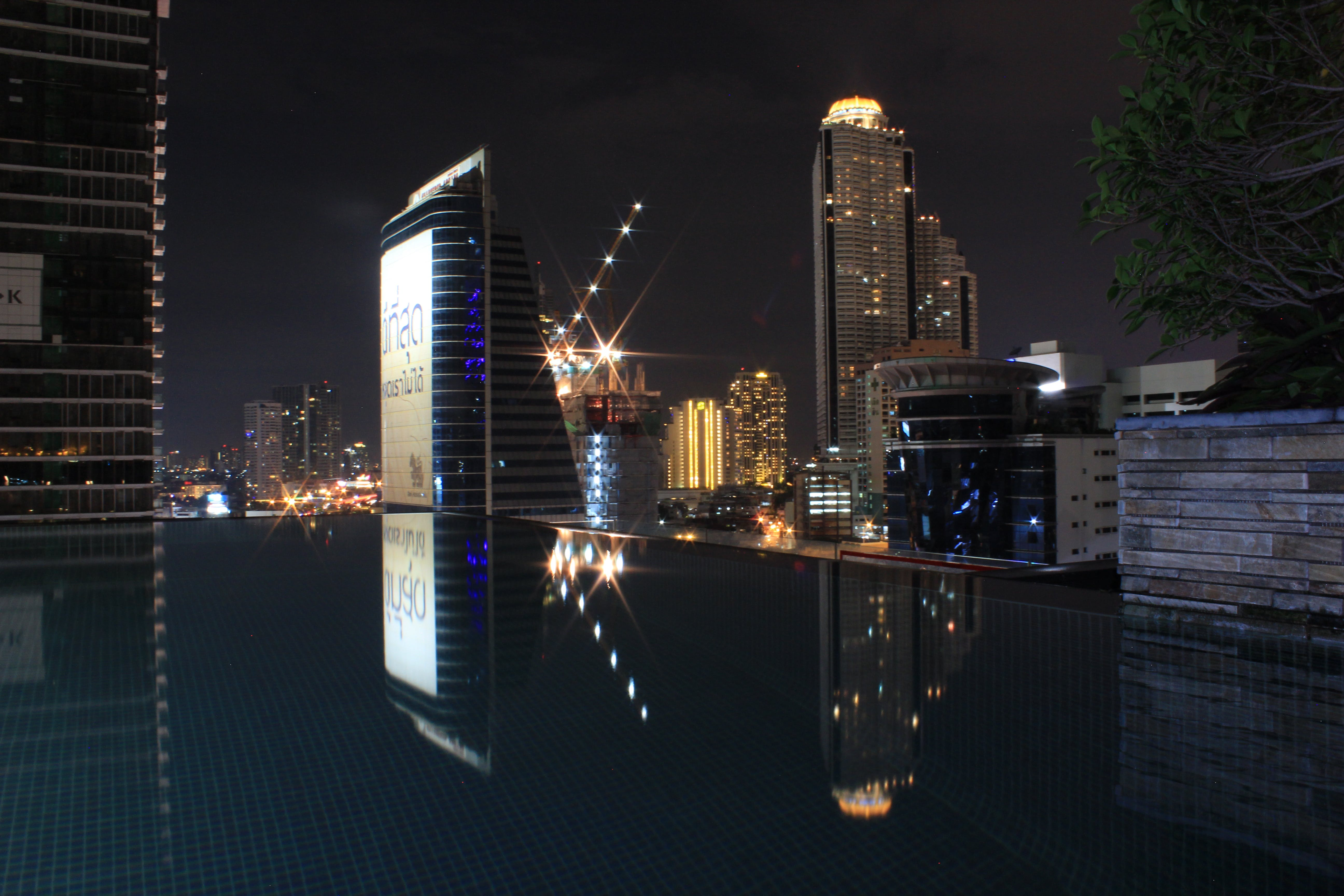 Free stock photo of Bangkok, city, infinity pool, light reflections