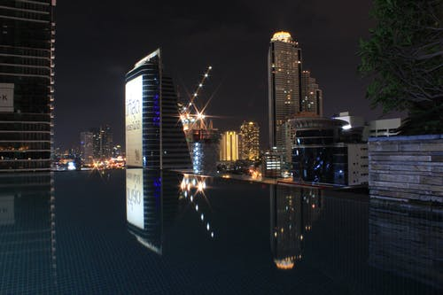 Free stock photo of Bangkok, city, infinity pool, light reflections