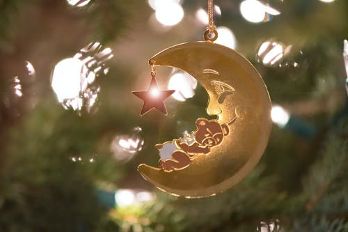 Gratis arkivbilde med babybjørn, halvmåne, julekort, juleornament
