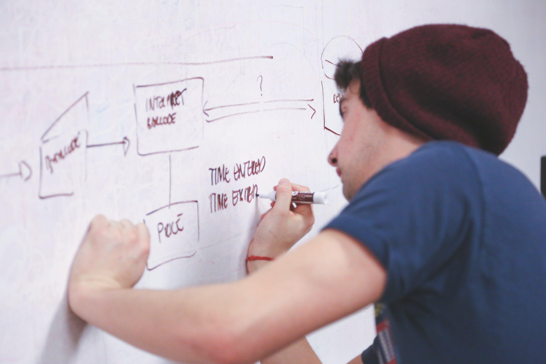 Foto stok gratis beanie, bekerja, biro, brainstorming
