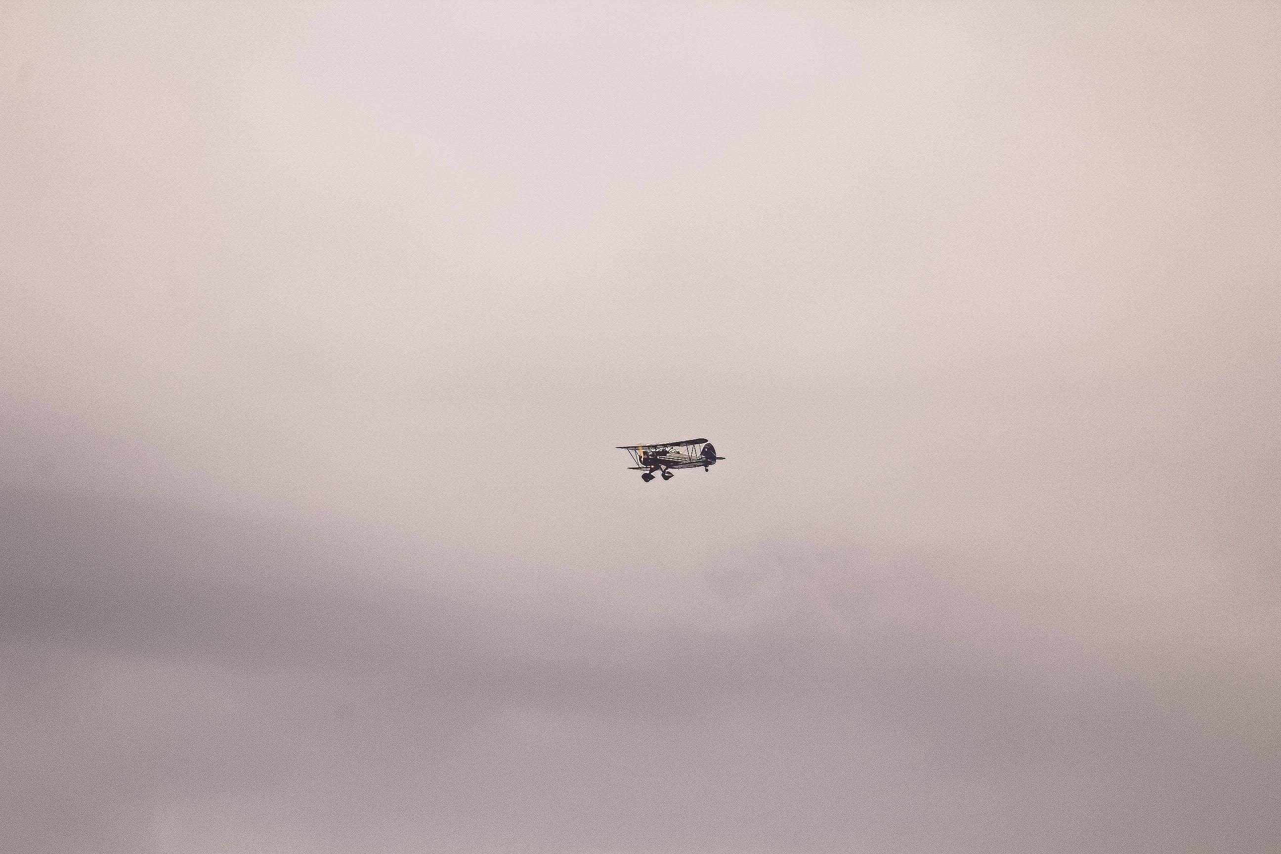 Gray and Black Biplane