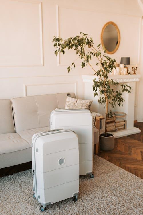 White Wooden 2 Drawer Chest Beside White Sofa