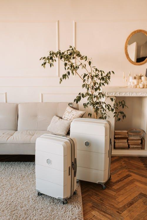 White 2 Drawer Chest Beside White Sofa