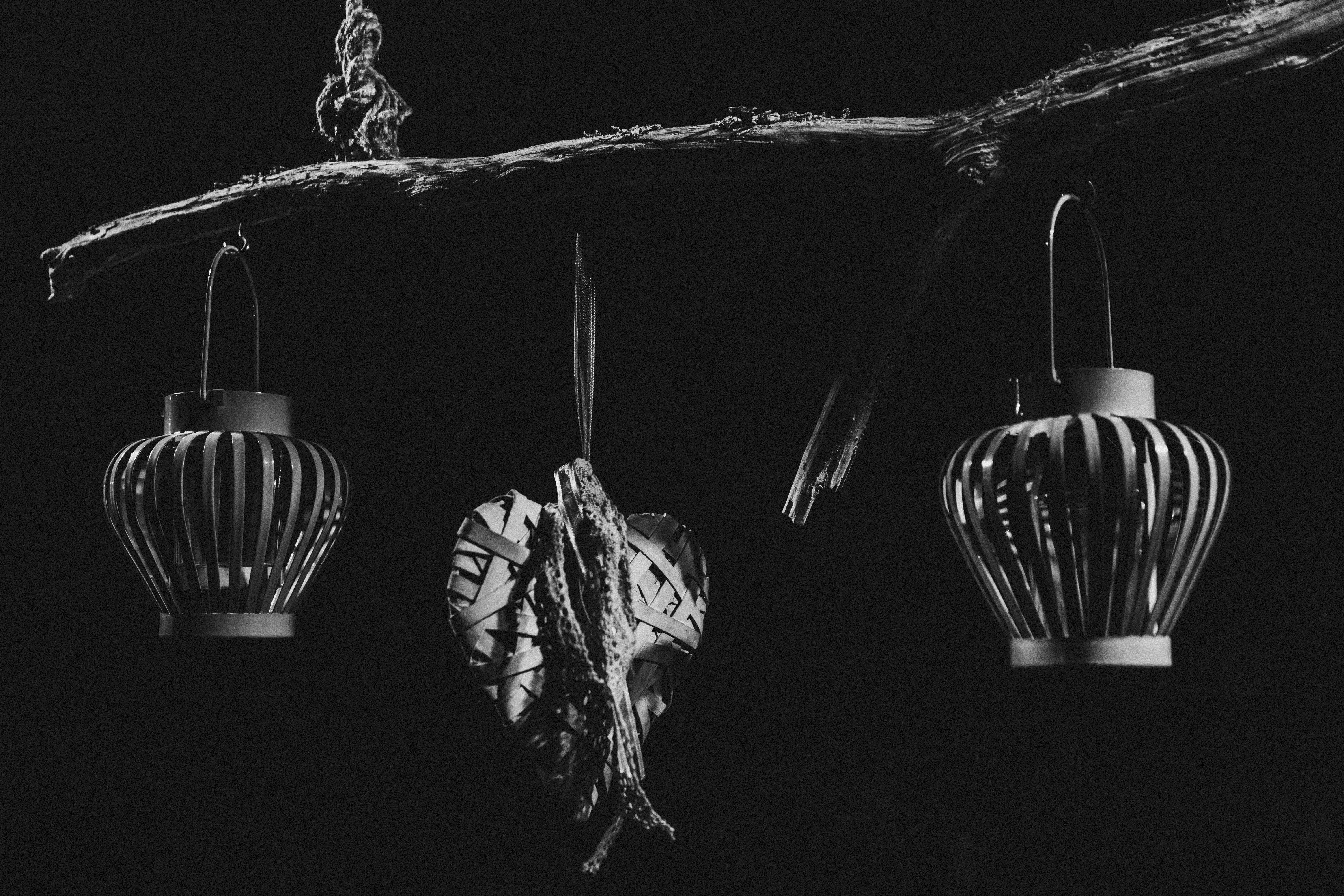 Black and White Photo of Hanging Objects