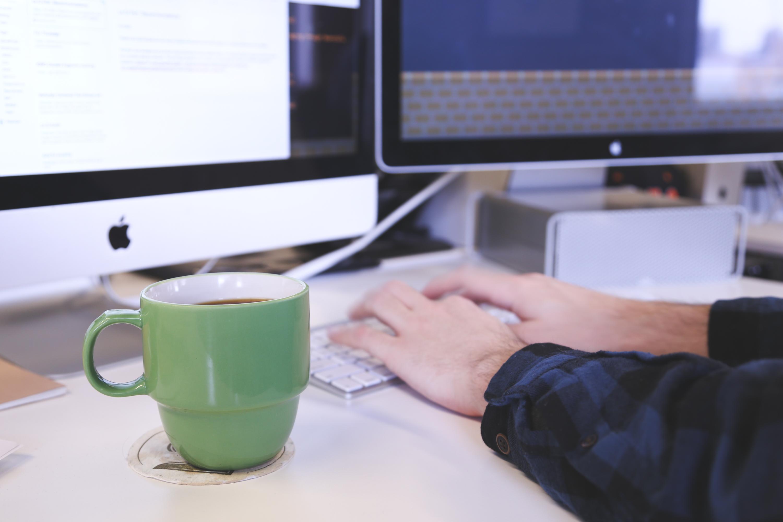 Free stock photo of coffee, apple, desk, working
