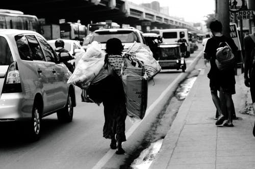 Ilmainen kuvapankkikuva tunnisteilla kantaminen, lady, roskat, toimeentulo