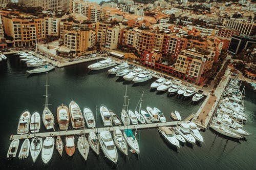 Aerial View of Yachts Docked on a Harbour
