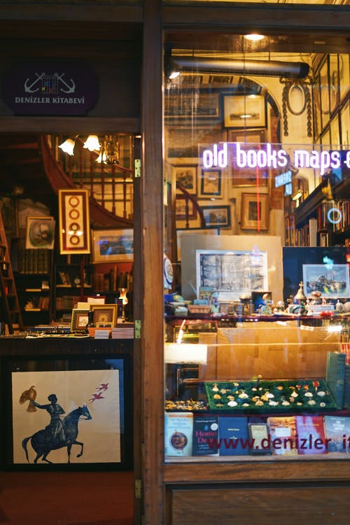 Bookstore with vintage books and maps