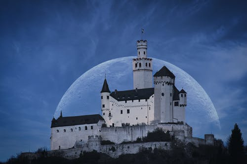 Free stock photo of castle, historical, moon