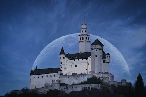 城堡, 晚上, 月亮 的 免费素材图片