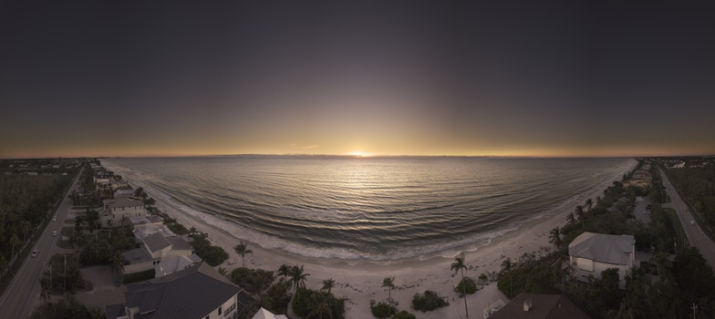 Panoramic Photography of Beach during Golden Hour