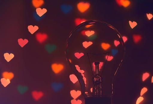 Photo of Illuminated Hearts Around the Light Bulb