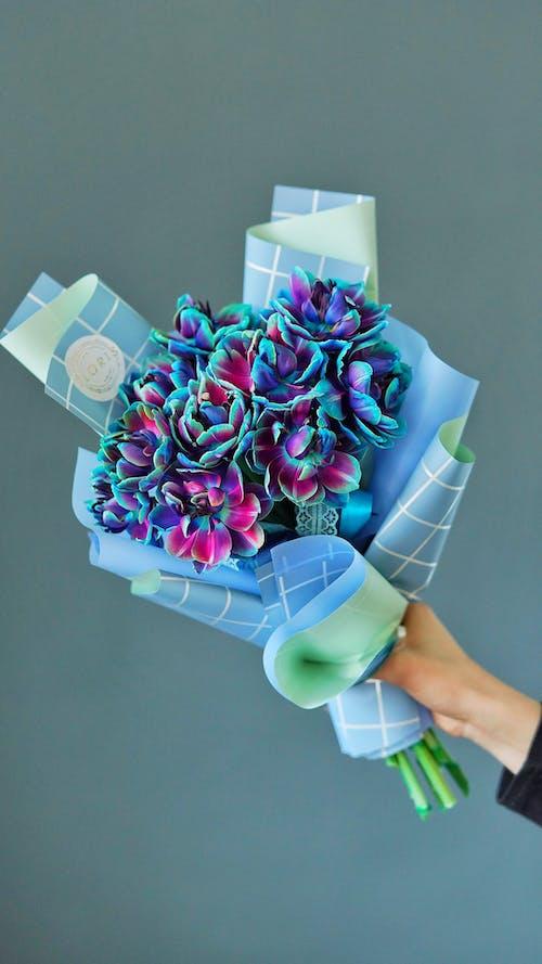 Crop unrecognizable florist showing bouquet of vivid purple flowers