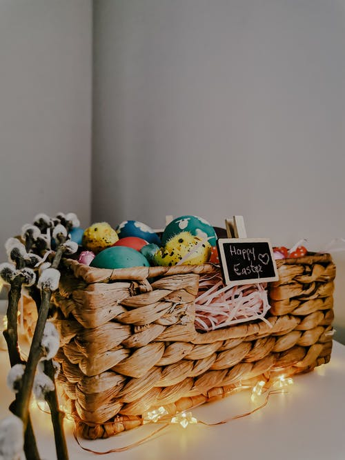 Close-Up Shot of Easter Eggs on a Basket