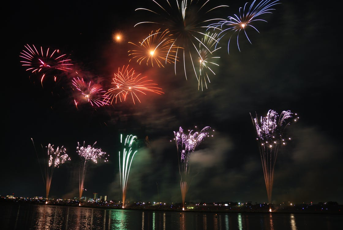 Red Green and Blue Fireworks during Nighttime