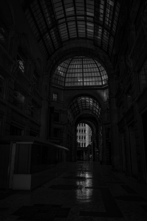 Black and white of empty passage of historic building with arched ceiling and glass dome at night