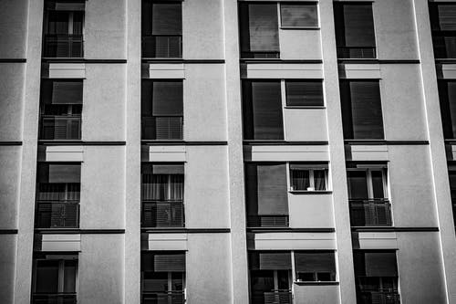 Grayscale Photo of a Concrete Building