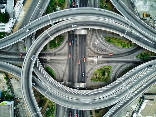 Aerial View of Flyover Roads and Highways